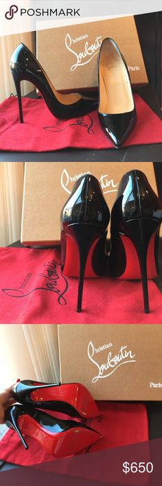 "So Kate Louboutins! These baddies are 120"" heels and are absolutely stunning. Sleek black color that has absolutely no damages. Worn only once. Please try these on at a Neiman Marcus or Nordstrom before purchasing to make sure the size is correct, • NO RETURNS • They are beautiful and complete any outfit. Very minimal color loss on the bottoms which is seen in one of the pictures. Bought from Neiman Marcus. Comes with louboutin box and bag! Christian Louboutin Shoes Heels"