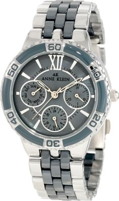 Anne Klein Women's 10/9699GMGY Silver-Tone Grey Ceramic Bracelet Multi-Function Watch : Disclosure: Affiliate link