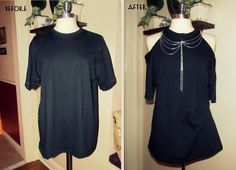 WobiSobi: Project Re-Style # 30: Peep Shoulder Shirt, With Chain Detail.