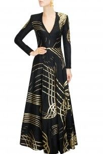 Black and gold ribbon rays flared gown