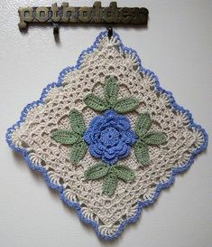 Irish crochet blue potholder | Flickr - Photo Sharing! By LaceCrochet.  No Instructions.