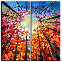 Original Large Tree art Abstract Impasto Texture Gallery painting Contemporary art acrylic painting Looking Up Forest art by tim lam 48x48. $458.00, via Etsy.