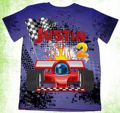 Personalized  birthday T-shirt, Boys race car T-shirt, Toddler car T-shirt, Customized shirt, on Etsy, $24.95