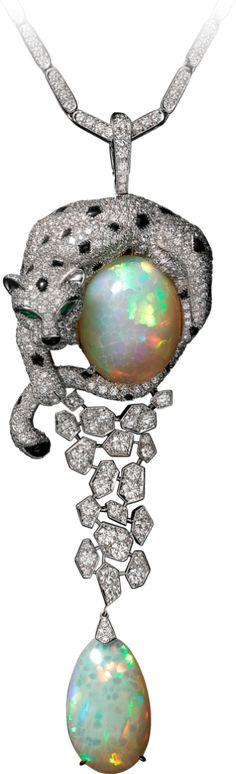 Panthère de Cartier necklace White gold, opals, onyx, emeralds, diamonds #opalsaustralia