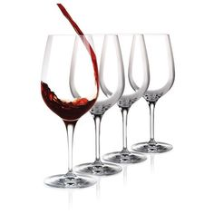 Cashs Crystal Wine Cru Cabernet, Merlot Red Wine Glasses, Set of 4 ($39) ❤ liked on Polyvore featuring home, kitchen & dining, drinkware, crystal red wine glasses, crystal drinkware, red wine glass and red wine glasses