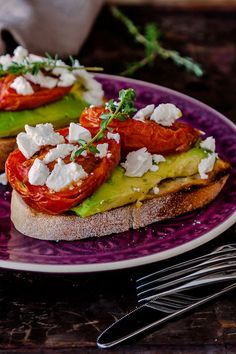 Slow roasted tomatoes with avocado and feta | deliciouseveryday.com #breakfast #healthy