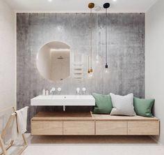 Mais aconchegante impossível! O arquiteto Johny Mrazko transformou o armário do banheiro em um criativo banco com apenas algumas almofadas. Adoramos!