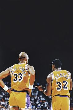 Kareem Abdul-Jabbar and Magic Johnson #Throwback #NBA #Showtime