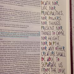 Did the first page in my journaling Bible this weekend... kept it really simple.... just black marker and a few colored pencils... Romans 8:38-39. #illuminatedfaith #biblejournaling by springchick1219