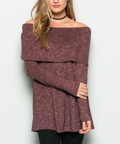 I love the look of this but not sure how it would work with someone that has broad shoulders??  Look at this #zulilyfind! Dust Pink Off-Shoulder Sweater #zulilyfinds