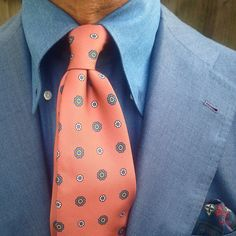 """The beauty of a Viola Milano """"Multicolor"""" handrolled silk tie & handrolled """"Grey pattern"""" pocket square…"""