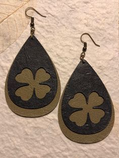 Excited to share one of the latest addition to my #etsy shop: Shamrock leather earrings. http://etsy.me/2D8RI0w #jewelry #earrings #green #boho #earwire #leather #girls #gray #luck