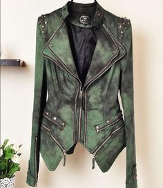 Distressed army green leather jacket. Studded shoulders. Blazer style....love it!!
