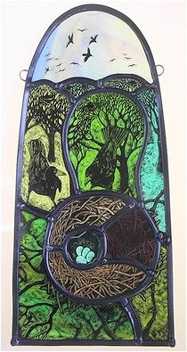 Beautiful rural-themed stained glass panel by Tamsin Abbott. Stained Glass Paint, Stained Glass Panels, Stained Glass Projects, Leaded Glass, Tile Art, Mosaic Art, Mosaic Glass, Fused Glass, Glass Art