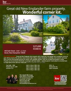 PRICE IMPROVEMENT! BE IN FOR THE HOLIDAY! 440 Sixth Dover, New Hampshire 03820 || Multi-Family, 4 units || offered at $275,000 || Great Old England Farm Property with Huge Barn! Property can be purchased individually or packaged. || The Colwell-Ellis Group Keller Williams Coastal Realty (603) 610-8500 x488