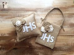 Monogrammed Burlap Ring Bearer Pillow & Flower Girl Bag Set - Wedding table decor (*Amazon Partner-Link)