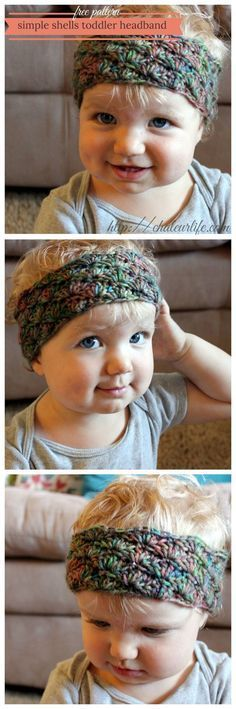 Simple Shells Toddler Headband - Free Crochet Pattern- instructions for making it larger too- and link to matching leg warmers. Diy Tricot Crochet, Bandeau Crochet, Crochet Mignon, Bonnet Crochet, Mode Crochet, Crochet Headband Pattern, Crochet Baby Hats, Crochet Beanie, Crochet For Kids