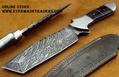 Damascus Hunting knife HK-59  Open Length: 11 Inches Blade Length: 6 Inches Handle Length: 5 Inches Price: $70USD Handle Made of Black horn with spacers  FREE SHIPPING
