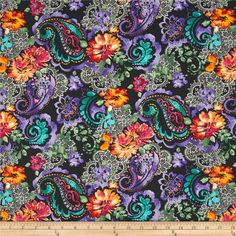 Timeless Treasures Indian Summer Large Floral Black from @fabricdotcom  Designed by Timeless Treasures,  this cotton print fabric is perfect for quilting, apparel and home decor accents. Colors include lilac, fuchsia, black, white, teal blue, and orange.