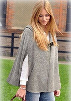 Grey Hooded Two PU Buckle Cashmere Wool Coat