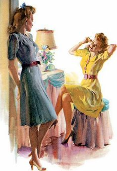 """Illustration by Harry Anderson. - A shy smile.Two women in a quiet moment of peace. - Board """"Art-Women in Yellow"""". Pin Up Vintage, Pin Up Retro, Images Vintage, Mode Vintage, Retro Art, Vintage Art, Vintage Ladies, Vintage Wife, Vintage Woman"""