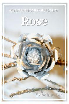 süße Rose aus 3 Teelicht Hülsen - tolles upcycling Projekt! Anleitung auf Vintage Design Barn #upcycling #rose #aluminium #metallic #bastelideen #valentinstag #weihnachtsschmuck  #dekoration