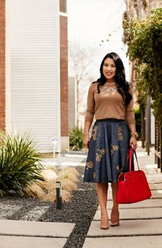 cute & little blog | eshakti bicycle chambray full skirt, house of harlow blue necklace, jcrew charley camel sweater, kate spade cedar stree...