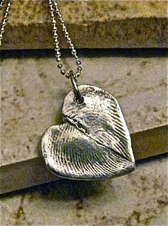 Fingerprint Heart Charm - Two Fingerprints form a Heart - Pure Silver Charm $60