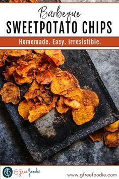 BBQ Sweetpotato Chips || Let me introduce you to one of my all-time favorite snacks, homemade Honey BBQ Sweetpotato Chips. They're not just one of my favorites, they're pretty universally adored. They're perfect for those on a Gluten Free or Paleo diet obviously, but I'm talking ANYONE – kids, teens, adults. Snack on them at work, during the game, at 1 am when you're binge-watching your favorite show, whatever. #gfreefoodie #sweetpotato #glutenfree #paleo