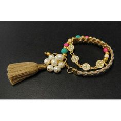 Pulsera de Moda con Perla, Turquesa, Piel Sintética y Medallitas de San Benito