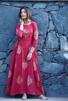 Maroon Maxi Dress – Rivaaj Clothing