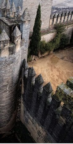 I love the angle on this photo. I like to picture Ailanthe walking the courtyard, looking down on whatever country it opens on. Spain photo via Elizabeth Chateau Medieval, Medieval Castle, Medieval Fantasy, Palaces, Narnia, Dark Ages, Loire, Kirchen, Belle Photo
