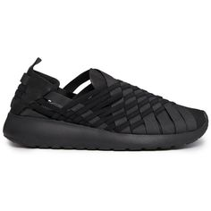 Nike Woven Rosherun Black Slip On Trainers ($92) ❤ liked on Polyvore featuring shoes, sneakers, black, sport, sport shoes, nike sneakers, black trainers, black sneakers and sports trainer