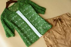 Green crochet cardigan, quarter sleeves, open with a diamond crochet stitch. Instructions in Chinese but those proficient with reading diagrams can use these. More Patterns Like This!
