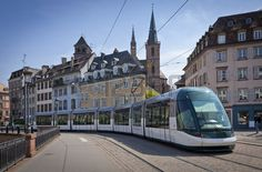 Modern tram on the streets of Strasbourg city France Stock Photo