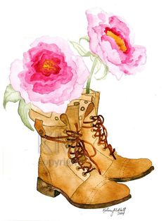 Watercolor Painting Print Peonies and Boots  by KelseyMDesigns