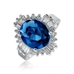 Bling Jewelry Great 5Ct Sapphire Color Cocktail Ring