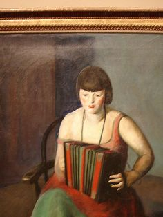 woman playing accordion, guy pene dubois, 1924