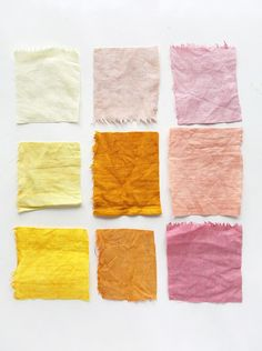 Experimenting with Natural Dyes on A Beautiful Mess - voor boekje 2 Shibori, Natural Dye Fabric, Natural Linen, Natural Dyeing, Color Patterns, Color Schemes, Color Charts, Color Combinations, Pantone
