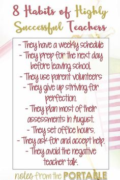 8 Successful Teacher Habits – Tips for Teacher Planning Love these suggestions to inspire teachers. Love the FREE planning guide! Teaching Quotes, Teaching Time, Student Teaching, Teaching Ideas, Teaching Tools, Elementary Teaching, Education Quotes, Elementary Schools, Teacher Organization