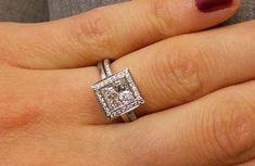 Bezel Set Halo Engagement Ring with 1.81ct Princess Cut Center Diamond