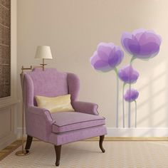 Purple Flowers Printed Wall Decals, Stickers