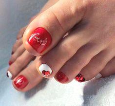 Pedicure Designs Nailart New Ideas French Pedicure, Pedicure Nail Art, Toe Nail Art, French Nails, French Toes, Pretty Toe Nails, Cute Toe Nails, My Nails, Orange Toe Nails