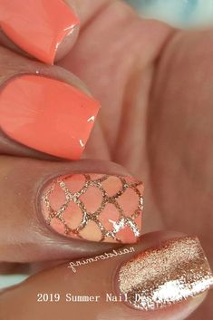 57 special summer nail designs for an extraordinary look - Nails - # except . - 57 special summer nail designs for an extraordinary look – Nails – # - Fancy Nails, Gold Nails, Trendy Nails, Cute Nails, Coral Toe Nails, Coral Acrylic Nails, Peach Nails, Orange Toe Nails, Long Nails