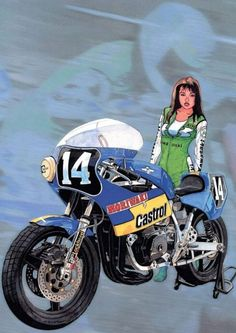 Race Lady Anime Motorcycle, Cafe Racer Motorcycle, Motorcycle Style, Bike Drawing, Motorbike Girl, Old Bikes, Super Bikes, Cool Cartoons, Comic Art