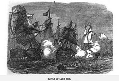 Battle of Lake Erie, illustration published in Military Heroes of the War of 1812, circa 1849. #warof1812 #ushistory #historyofmassachusettsblog