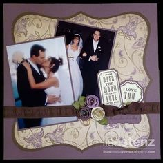 wedding scrapbook layout.