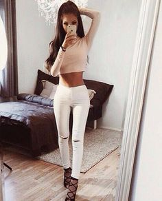 Fall & winter outfit - Nude crop top, white ripped jeans & lace up heels
