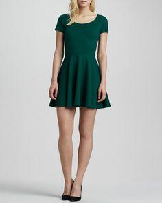 Short-Sleeve Ponte Skater Dress by Amanda Uprichard at Neiman Marcus.