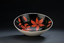 Black and Red Floral Bowl by Jean Elton (Ceramic Bowl)